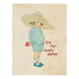 Vintage Valentine's Day Cute Kid Heart Sweetheart Postcard