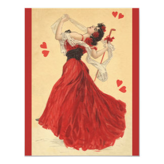 Vintage Valentine's Day, Dancing Lady Red Hearts Card
