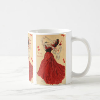 Vintage Valentine's Day, Dancing Lady Red Hearts Classic White Coffee Mug