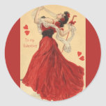 Vintage Valentine's Day, Dancing Lady Red Hearts Sticker
