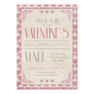 Vintage Valentine's Day Dinner Party Card