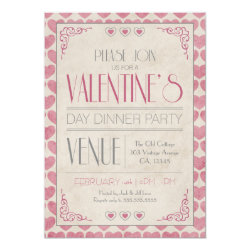 Vintage Valentine's Day Dinner Party Invitation