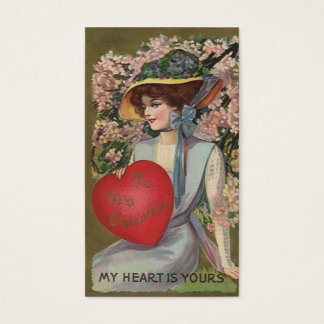 Vintage Valentine's Day, Elegant Lady with Heart Business Card