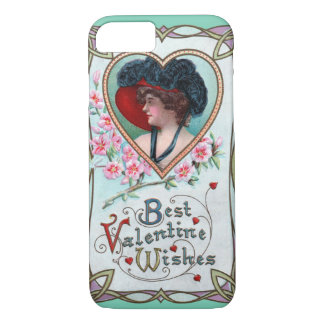Vintage Valentine's Day, Elegant Woman in a Heart iPhone 7 Case