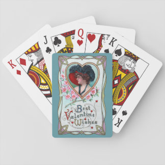 Vintage Valentine's Day, Elegant Woman in a Heart Playing Cards