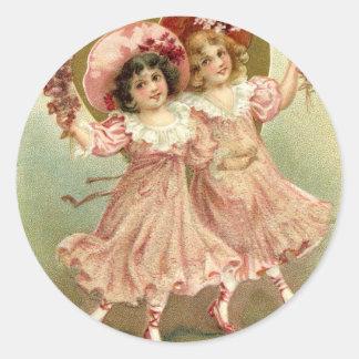Vintage Valentine's Day Friendship Classic Round Sticker