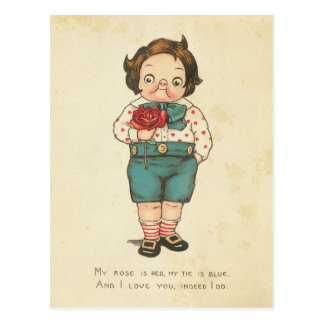 Vintage Valentine's Day Funny Boy Love Message Postcard