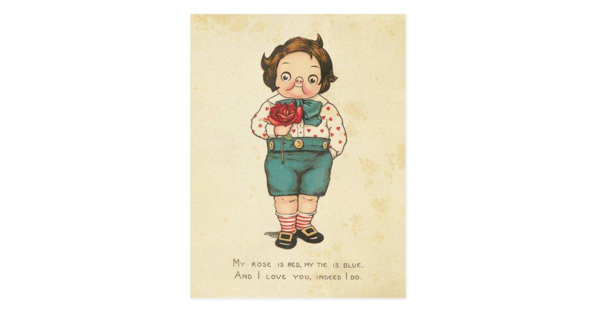 Vintage Valentine's Day Funny Boy Love Message Postcard ...