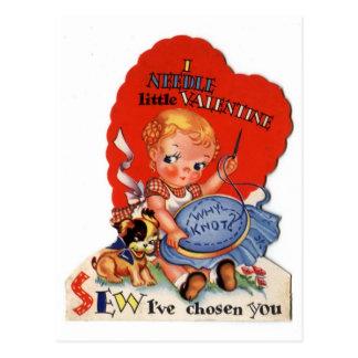 Vintage Valentine's Day Girl Sewing Postcard
