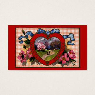 Vintage Valentines Day Greetings Heart and Flowers Business Card