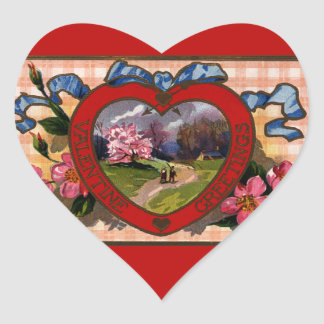 Vintage Valentines Day Greetings Heart and Flowers Heart Sticker