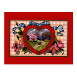 Vintage Valentine's Day Greetings Romantic Flowers Post Card
