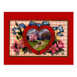 Vintage Valentine's Day Greetings Romantic Flowers Post Card