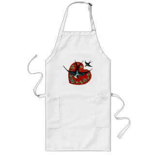 Vintage Valentines Day Heart & Sparrows Long Apron