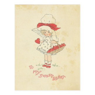 Vintage Valentine's Day Hearts Cute Little Girl Postcard