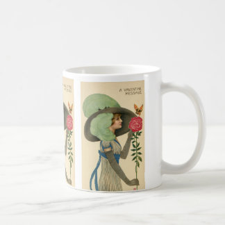 Vintage Valentine's Day, Lady Red Rose Butterfly Coffee Mug