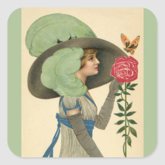 Vintage Valentine's Day, Lady Red Rose Butterfly Square Sticker