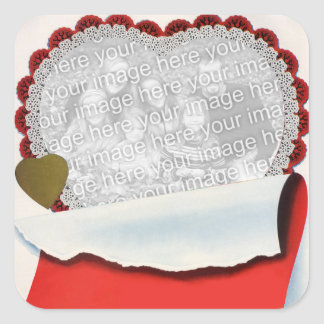 Vintage Valentine's Day, Love and Romance Heart Square Sticker