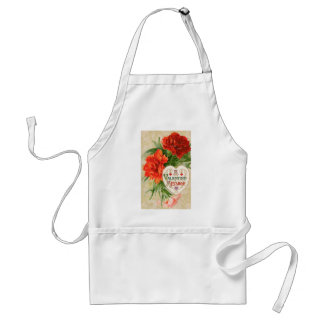 Vintage Valentine's Day Message, Carnation Flowers Adult Apron