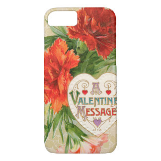 Vintage Valentine's Day Message, Carnation Flowers iPhone 7 Case