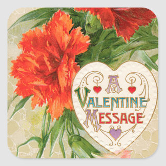Vintage Valentine's Day Message, Carnation Flowers Square Sticker