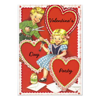 Vintage Valentines Day Party Card