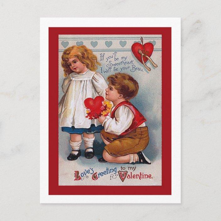 Vintage Postcard VALENTINE Postcard Vintage ROMANTIC Postcard Red Postcard with Beautiful Lady