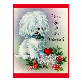 Vintage Valentine's Day Puppy Postcard