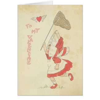 Vintage Valentine's Day Red Heart Wings Cute Girl Card
