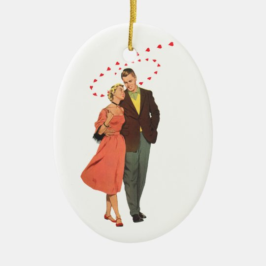 Vintage Valentine's Day, Romantic Floating Hearts Ceramic Ornament