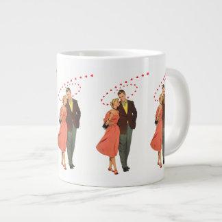 Vintage Valentine's Day, Romantic Floating Hearts Large Coffee Mug