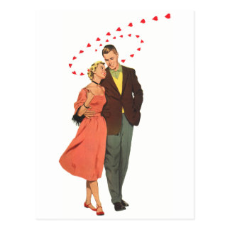 Vintage Valentine's Day, Romantic Floating Hearts Postcard