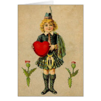 Vintage valentines day Scottish boy & heart Greeting Card