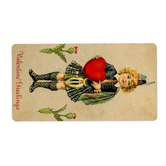 Vintage valentines day Scottish boy & heart Label