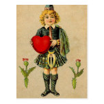 Vintage valentines day Scottish boy & heart Post Cards