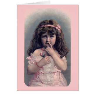 Vintage Valentine's Day Shy Girl Greeting Card
