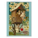 Vintage Valentine's Day Treehouse Cherubs Card