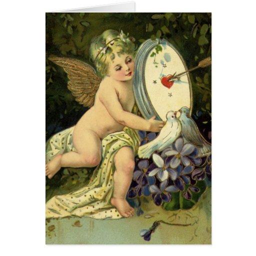 Vintage Valentines Day, Victorian Angel Love birds Card