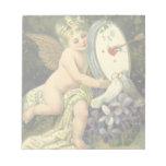 Vintage Valentines Day, Victorian Angel Love birds Scratch Pad