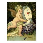 Vintage Valentines Day, Victorian Angel Love birds Postcard