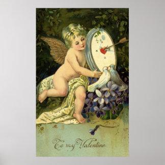 Vintage Valentines Day, Victorian Angel Love birds Poster