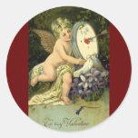 Vintage Valentines Day, Victorian Angel Love birds Classic Round Sticker