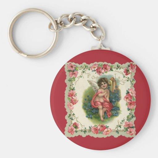 Vintage Valentine's Day, Victorian Angel on Phone Basic Round Button Keychain