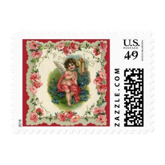Vintage Valentine's Day, Victorian Angel on Phone Stamp
