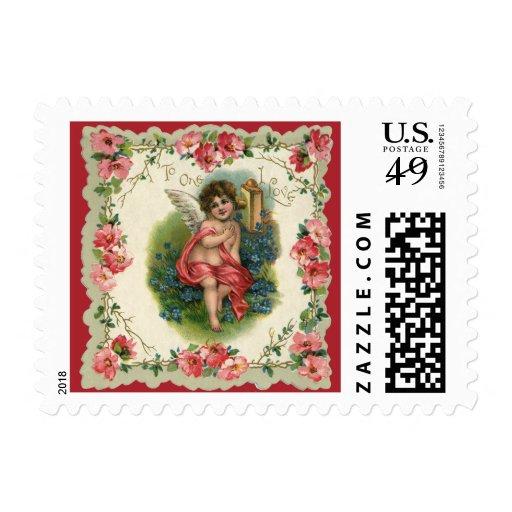 Vintage Valentine's Day, Victorian Angel on Phone Postage Stamps