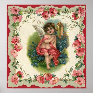 Vintage Valentine's Day, Victorian Angel on Phone Poster