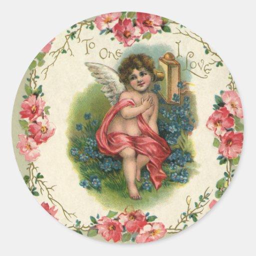 Vintage Valentine's Day, Victorian Angel on Phone Classic Round Sticker