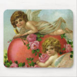 Vintage Valentines Day Victorian Angels Heart Rose Mouse Pad