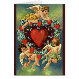 Vintage Valentine's Day, Victorian Angels Hearts Card