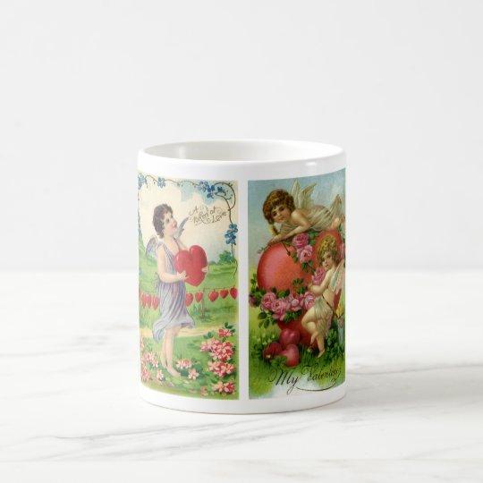 Vintage Valentine's Day, Victorian Angels Hearts Coffee Mug